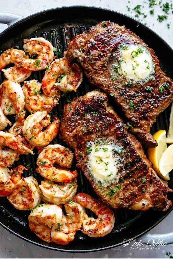 Garlic Butter Grilled Steak & Shrimp