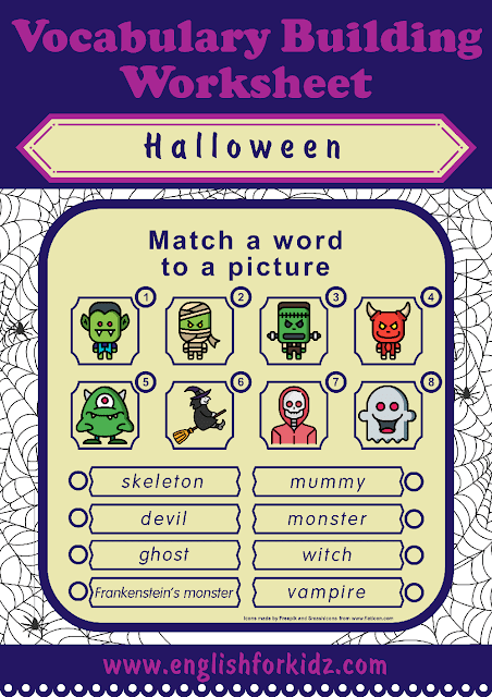 Printable Halloween worksheet - word to picture matching