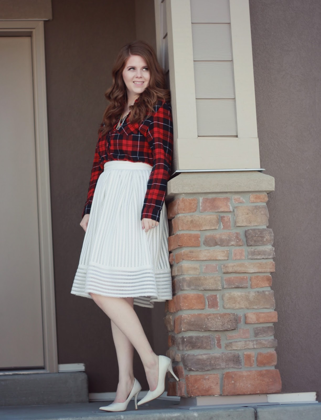 white skirt with plaid top
