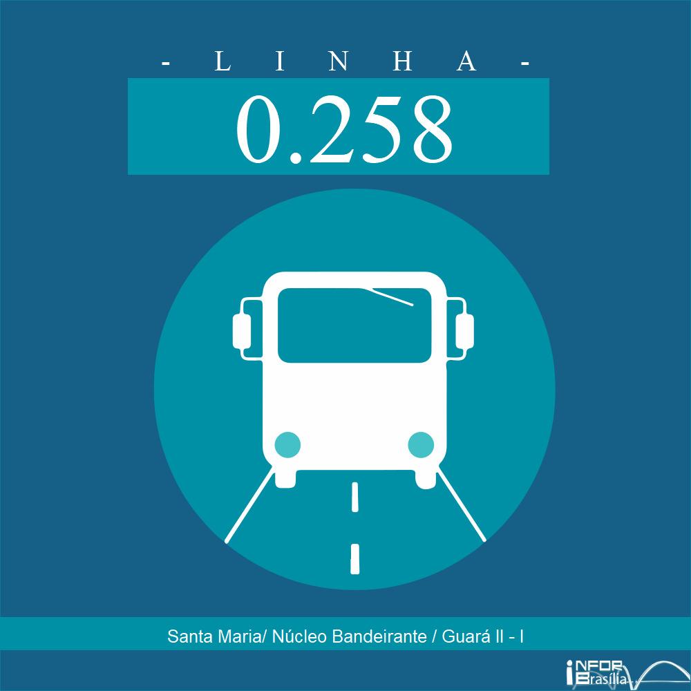 Horário de ônibus e itinerário 0.258 - Santa Maria/ Núcleo Bandeirante / Guará II - I