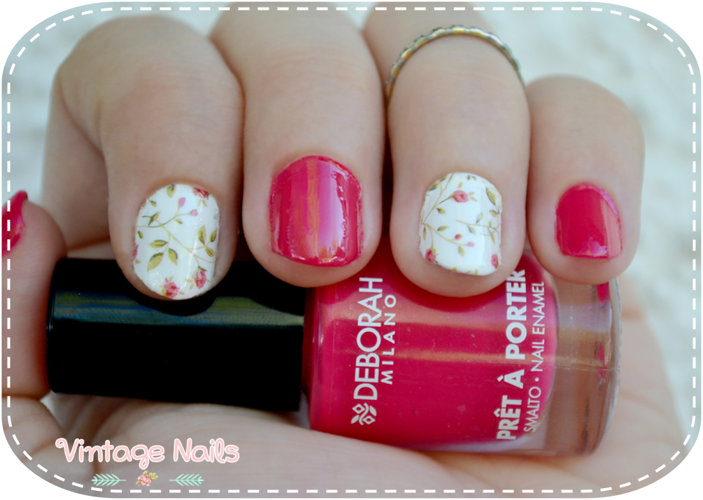 nail art, manicura, manicure, vintage nails, deborah milano, rare nails, born pretty store, water decals, flower nails
