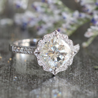 vintage feeling moissanite engagement ring