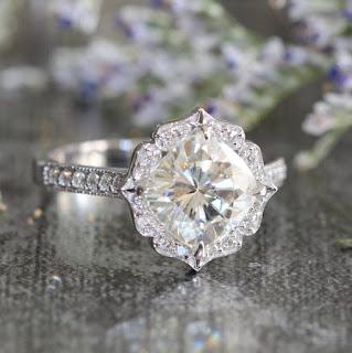vintage feeling moissanite engagement ring