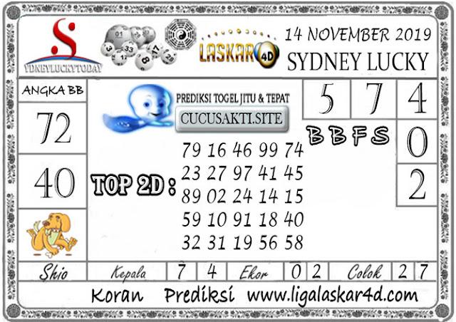Prediksi Sydney Lucky Today LASKAR4D 14 NOVEMBER 2019