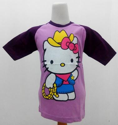 Kaos Raglan Anak Karakter Hello Kitty Bertopi Ungu Muda