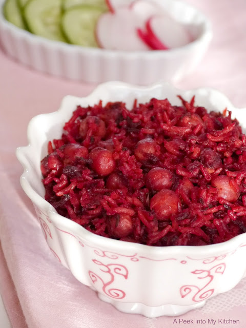 Beetroot Rice with Channa / Chickpeas ~ Day 39