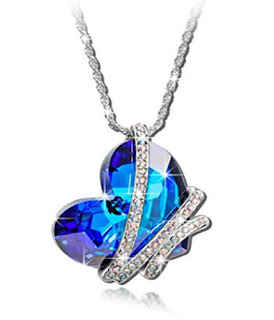 BEST GIFTS Venice Love Blue SWAROVSKI ELEMENTS Crystal White Gold Plated Heart Pendant Women Necklace Birthday Valentines Mothers day Christmas Anniversary Wedding Gift for Wife Mother Daughter,Pauline Morgen,QSN4981