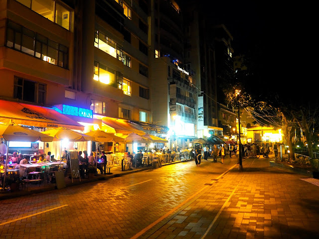 Main street in Stanley at night, Hong Kong