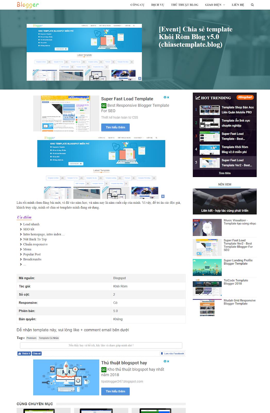 Chia sẻ Template Blogspot Khôi Ròm V5.0 mới nhất - Ảnh 2