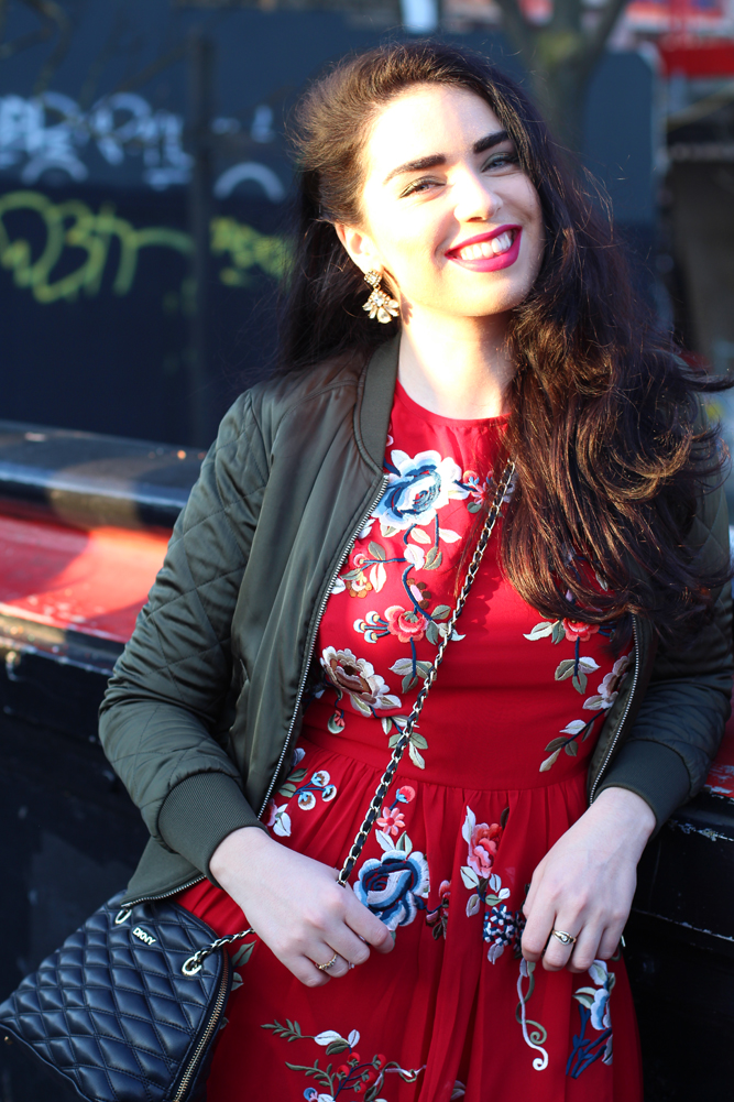 Emma Louise Layla in red ASOS dress in Camden - London fashion blog