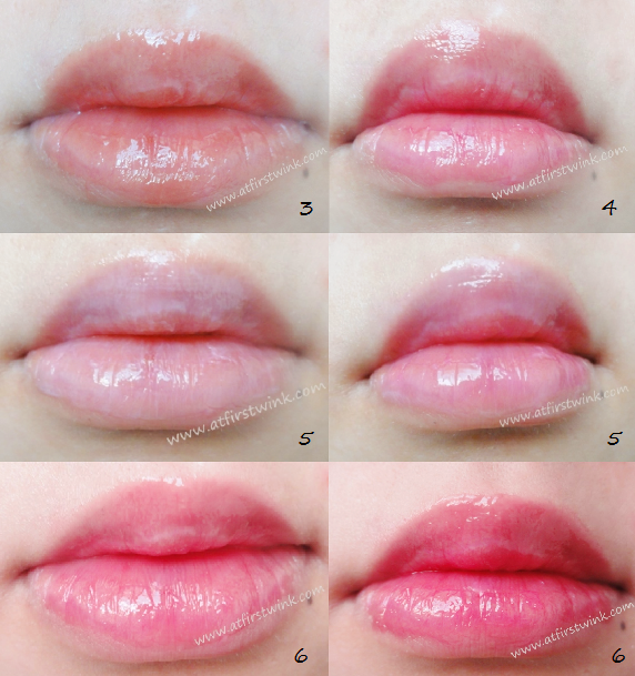 Peripera Wonder Talk Lip Balms number 3, 4, 5, and 6 on my lips, swatches.