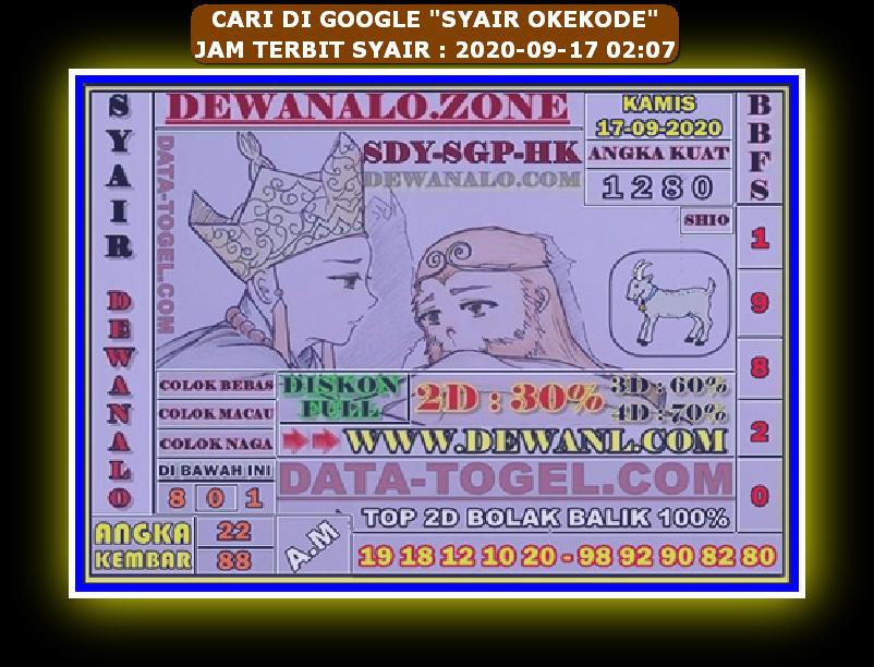 Kode syair Hongkong Kamis 17 September 2020 196