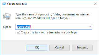 Run new task, powershell