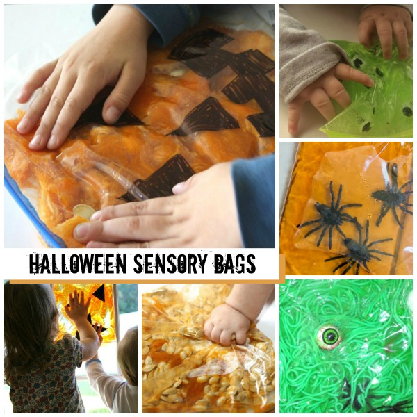 Halloween sensory bag ideas for kids- these are so fun and MESS FREE!
