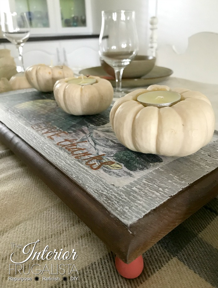 Thanksgiving Wood Trivet With Painted Feet