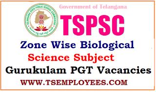 TSPSC Zone Wise Biological Science Subject Gurukulam PGT Vacancies