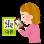 QRコードを撮影している人のイラスト(白人女性)