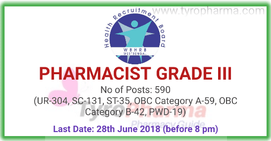Pharmacist Recruitment (590 posts) under Health & Family Welfare Department | Government Jobs