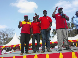 Ken Nyale with Gideon Mung'aro in Rabai. Mung'aro welcomes Nyale in Jubilee. PHOTO | Courtesy