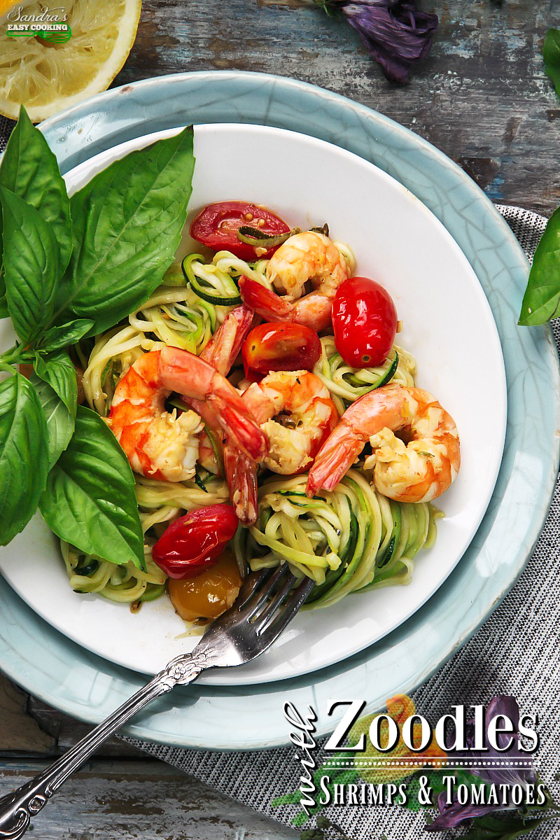 Spiral zucchini noodles = ZOODLES:::Try my delicious recipe with a YOUTUBE video tutorial for zucchini noodles with sauteed shrimps and cherry tomatoes in a garlic-olive oil. The perfect dinner for busy households or for somebody who is looking to cut carbs.