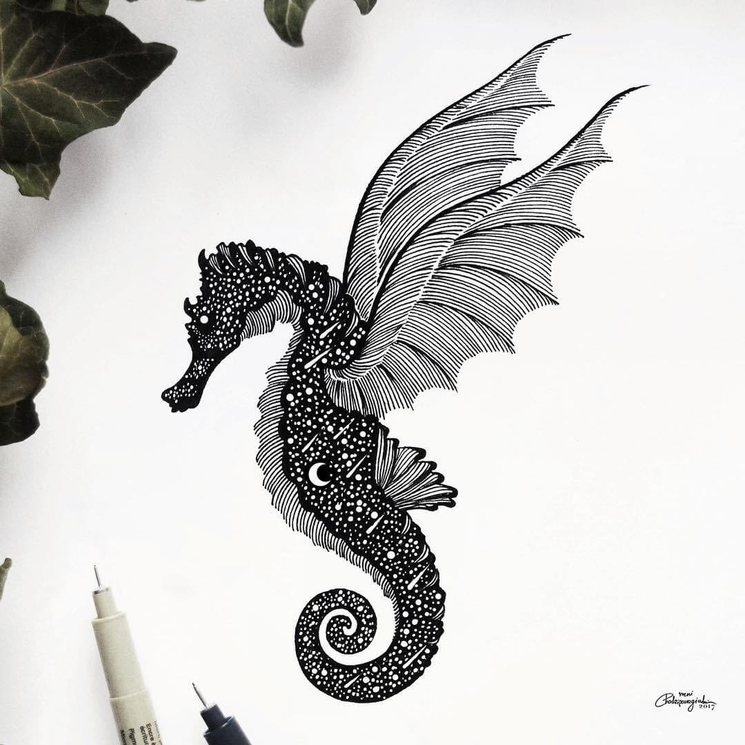 09-Winged-Seahorse-Meni-Chatzipanagiotou-Fantasy-and-Surrealism-in-Ink-Illustrations-www-designstack-co