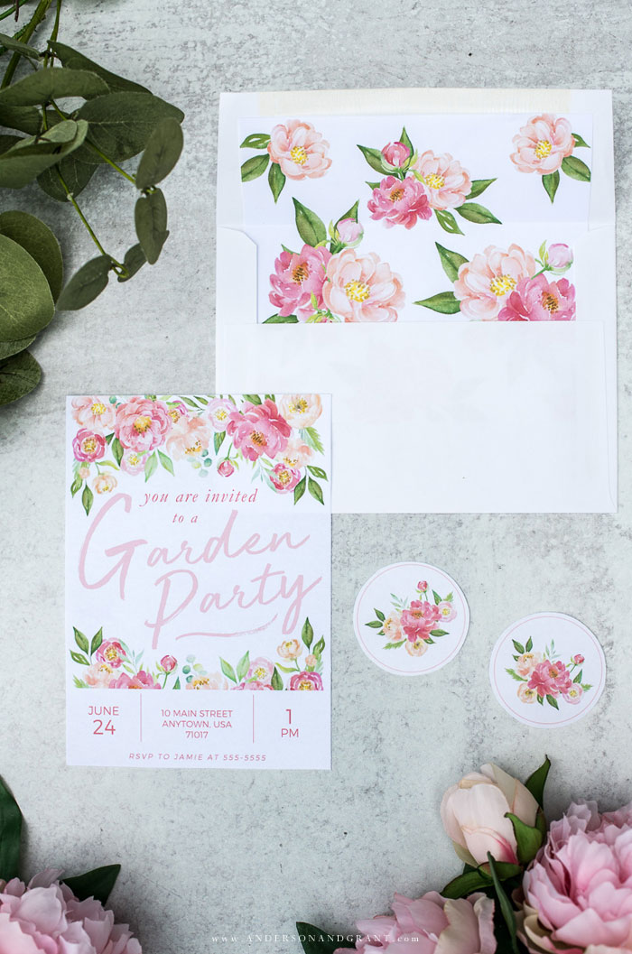 Summer Garden Party Invitation and decorated envelope