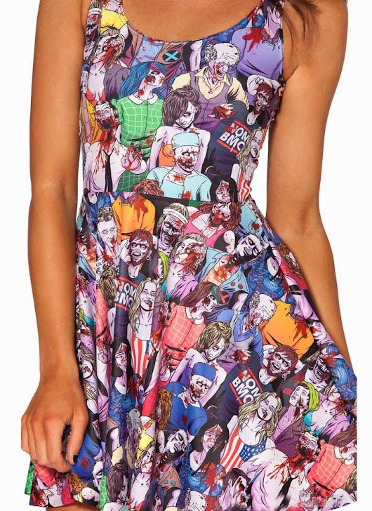e-BeautyQueen: Persunmall Zombies Print Skater Mini Dress Giveaway!