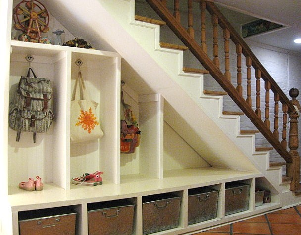 9 Staircase Storage Ideas Garage laundry rooms, Staircase storage