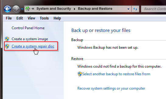 Cara Membuat CD System Repair di Windows 7