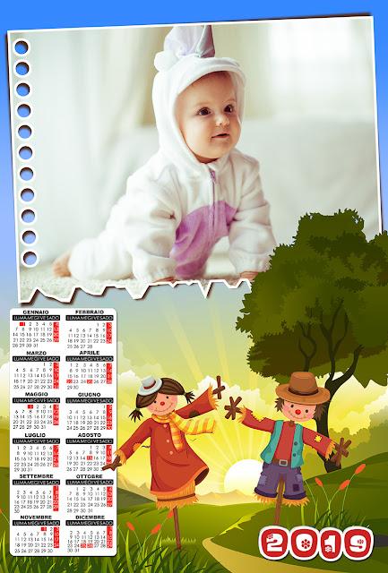 Calendario 2019 per bambini con spazio per foto orizzontale