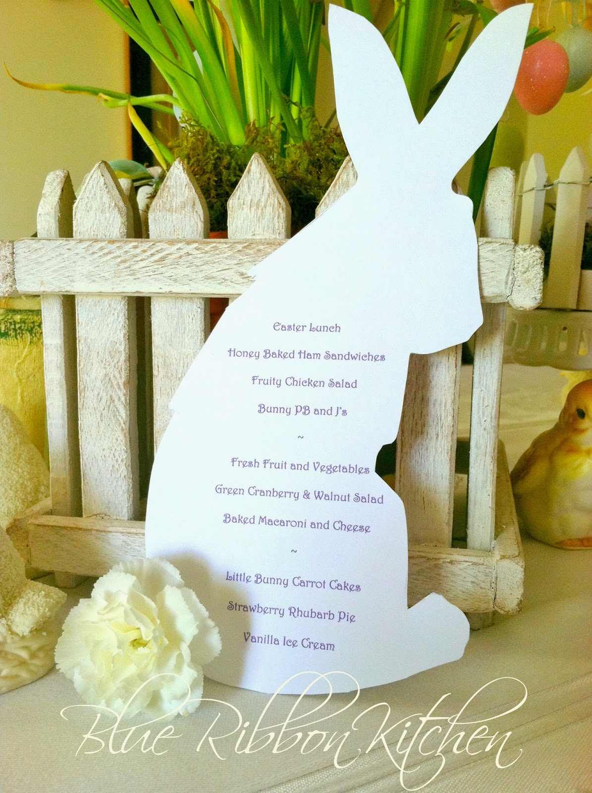 blue ribbon kitchen easter bunny menu place cards