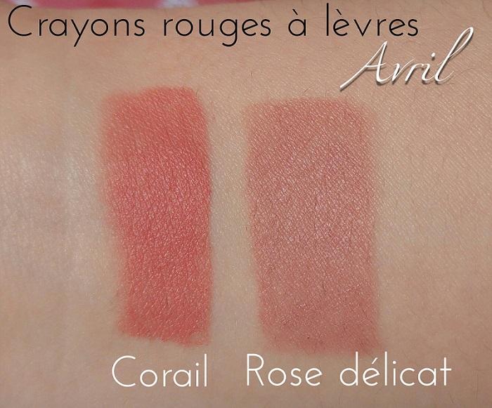 Crayon rouge à lèvres bio mat Avril Rose délicat et Corail swatch