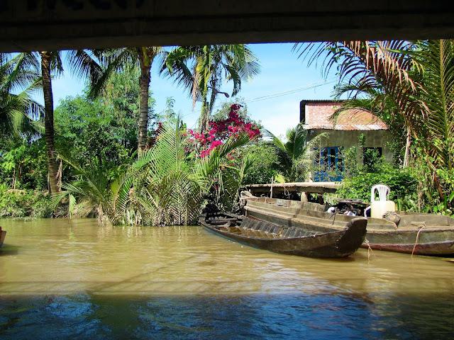 boat house canal mekong delta vietnam
