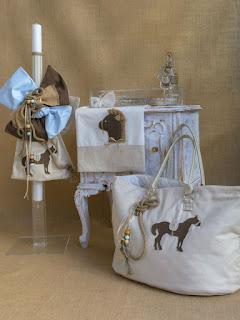 greek christening set horse themed
