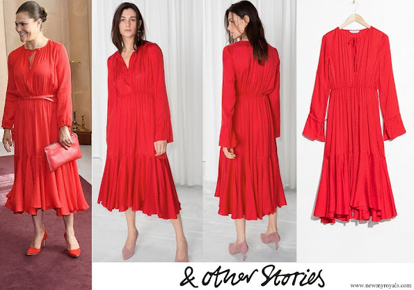 Crown Princess Victoria wore And Other Stories Midi Tie Neck Dress