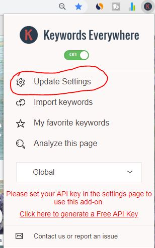 keywords everywhere update settings