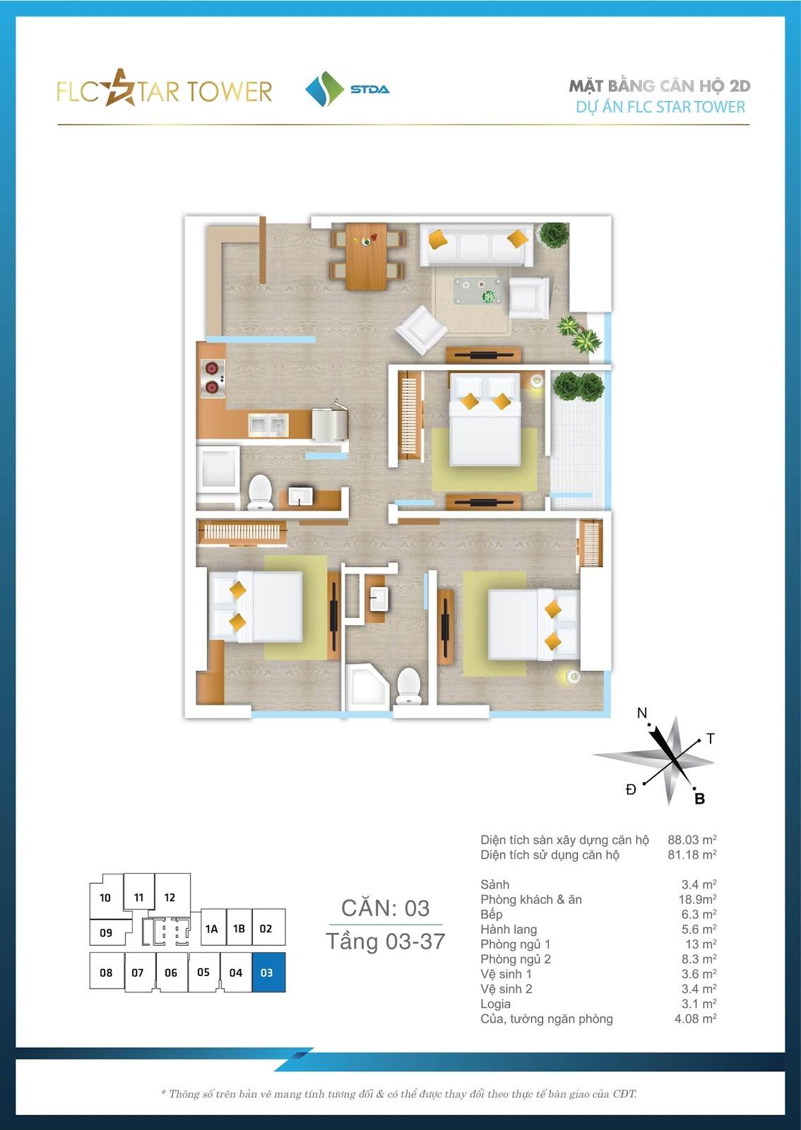 Thiết kế căn hộ 03 - Chung cư FLC Star Tower Hà Đông