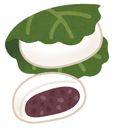 柏餅のイラスト(つぶあん)