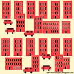 city in red pattern