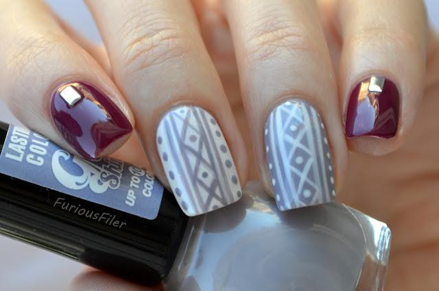 #31dc2015 studded knit pattern winter autumn nails