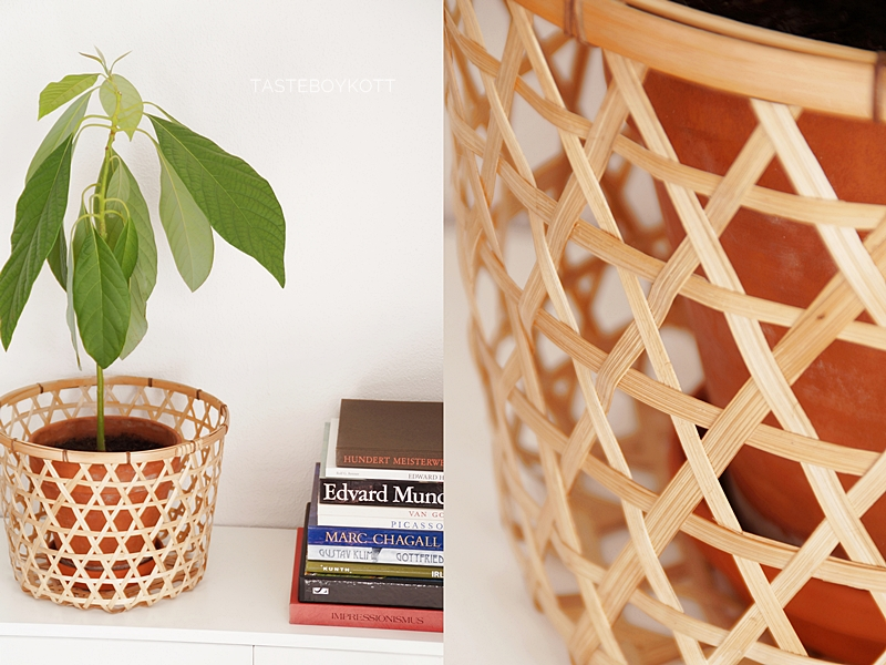 Kommode für den Sommer dekorieren mit Avocadopflanze, Korb und einem farbenfrohen Stapel Bildbände