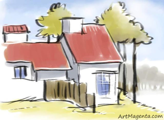 Whitewahsed house is a sketch drawn by artist and illustrator Artmagenta