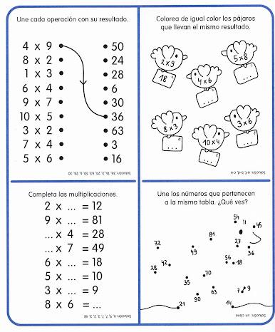 Resultado de imagen para tablas de multiplicar