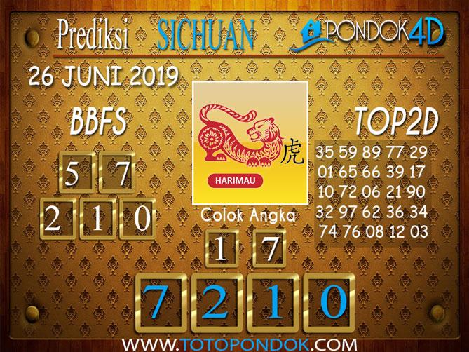 Prediksi Togel SICHUAN PONDOK4D 26 JUNI 2019