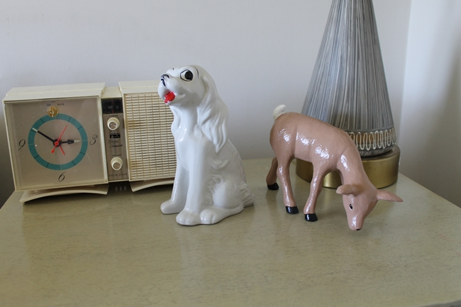 vintage radio with retro dog and deer figurines