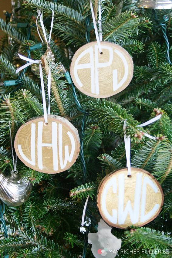 monogrammed wood slice ornaments
