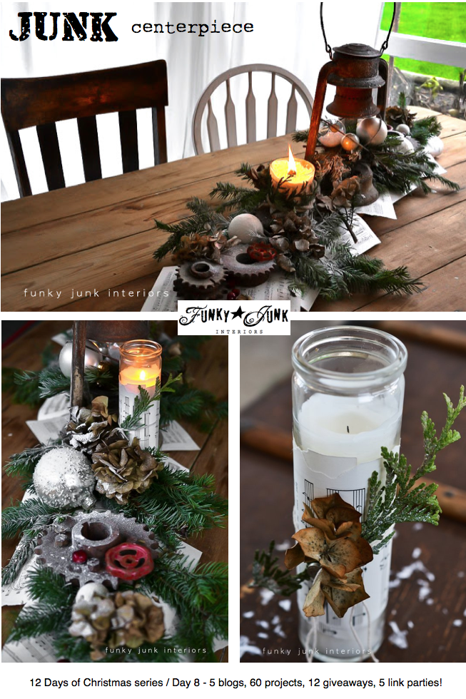 A rusty lantern and gear Christmas centrepiece via Funky Junk Interiors