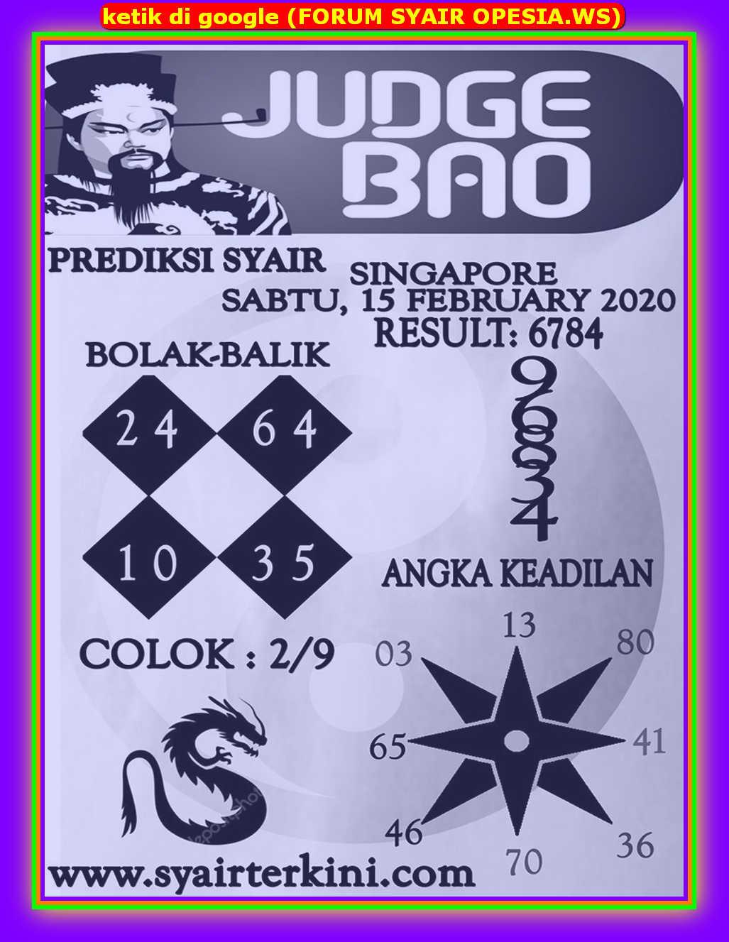 Kode syair Singapore Sabtu 15 Februari 2020 60