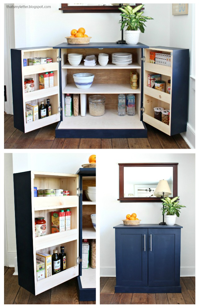 diy kitchen pantry cabinet with storage and counterspace