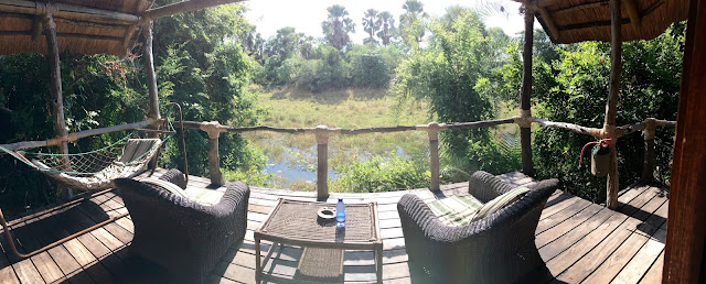 The view from the Mvuu Lodge room veranda balcony over the swamp lake - Liwonde National Park